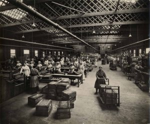 Workers in the 'box factory'