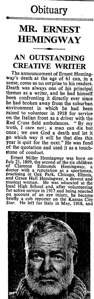 Hemingway's Obituary from the Times