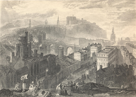 Engraving by Turner of Edinburgh city centre, as seen from Calton Hill