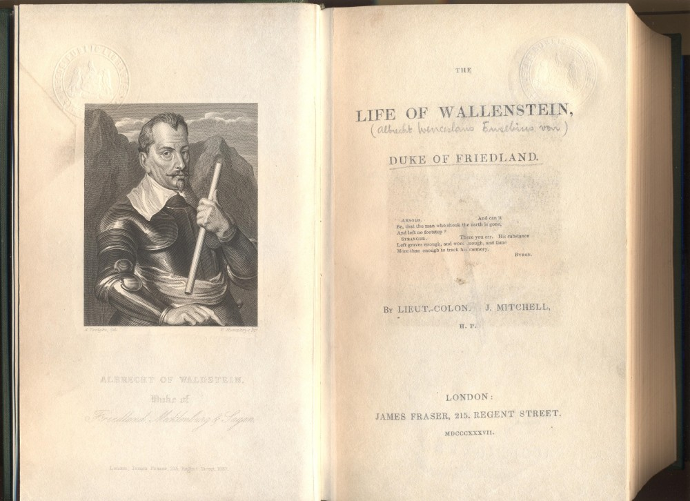 Title page of 'The life of Wallenstein; Duke of Friedland'