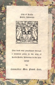 Bookplate from the Gott Collection