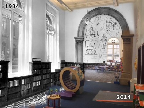 Cross section showing the library in 1934 and in 2014
