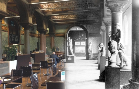 Current Tiled Hall cafe, then and now