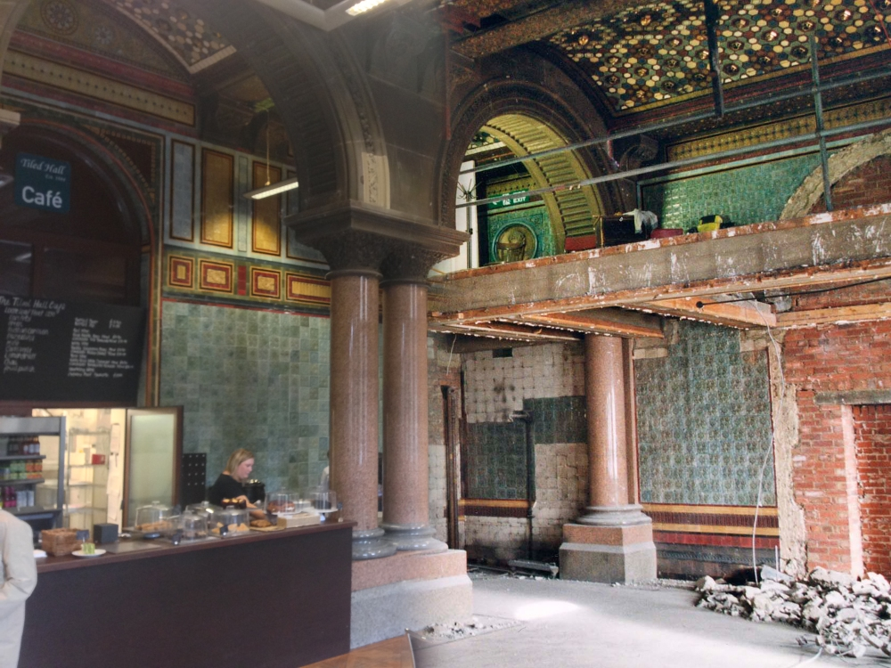 Tiled Hall cafe, then and now