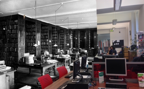 A further view of the current Information and Research library, then and now