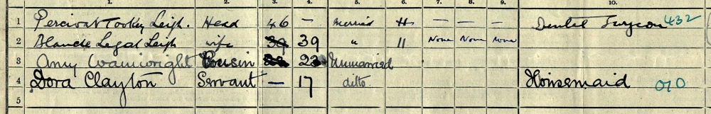 Blanche L. Leigh on the 1911 census