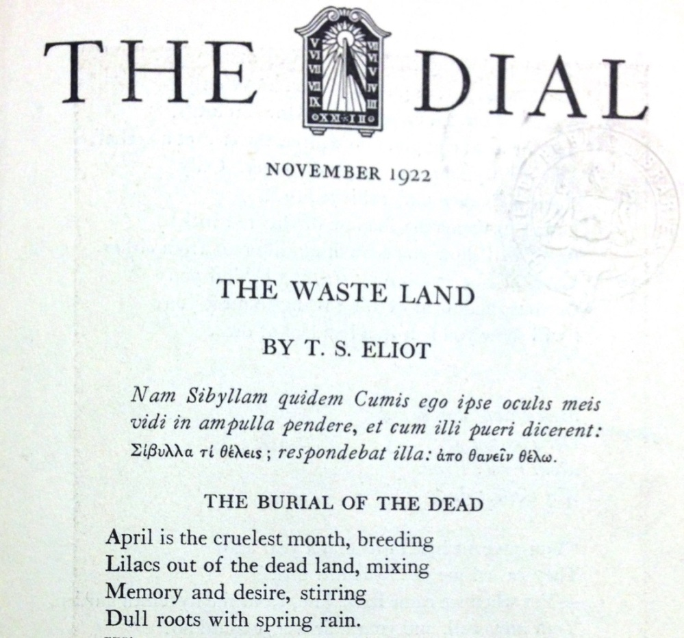 The Waste Land' as it first appeared in The Dial, 1922