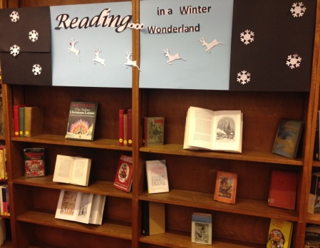 Display in our Information and Research library of Christmas and Winter-themed books