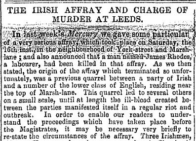 The opening of the Leeds Mercury report, 30 November 1850