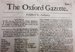 Image from the very first edition of the London Gazette (then called the Oxford Gazette) in 1665