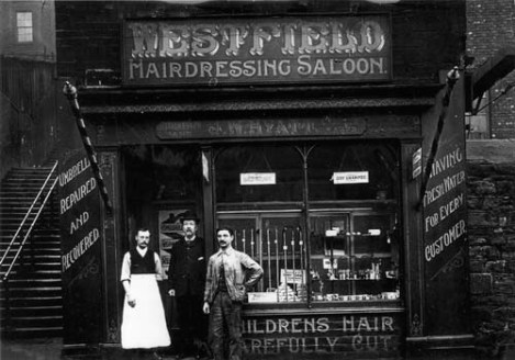 Westfield Hairdressing Saloon at number 1 Westfield Road, adjacent to the Ninety-nine Steps seen to the left.