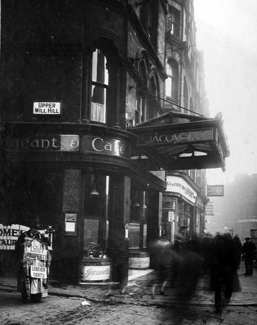 Jacomelli's on the corner of Boar Lane and Upper Mill Hill, 1931.
