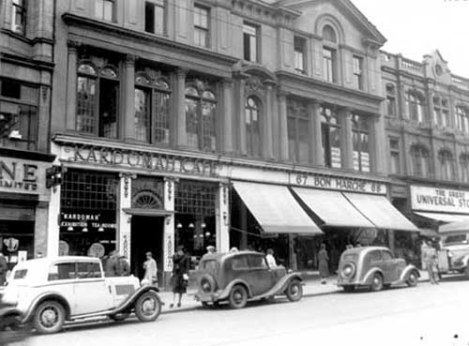 Kardomah on Briggate in 1937. Listed in some directories as the Kardomah Exhibition Tea-rooms.