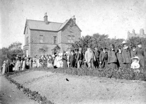 1892 photograph of members of Queen Street Methodist Chapel and Sunday School, Yeadon, about to set off on a Whitmonday walk.