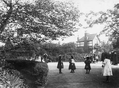 Children frolicking on Woodhouse Moor. It is unclear if these are the same children that could be seen with leaves in their mouths at the Woodhouse Moor concerts (early 1900s)