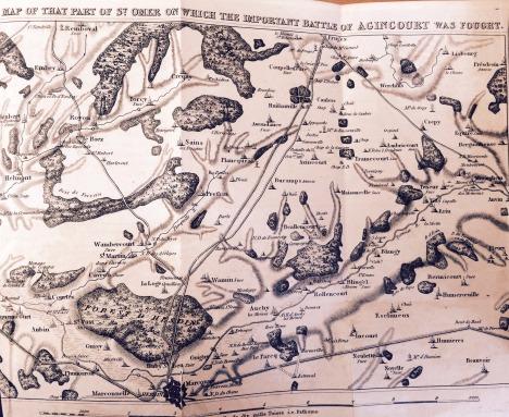 Map of the Agincourt battleground. Taken from Sir Nicholas Harris Nicolas' book