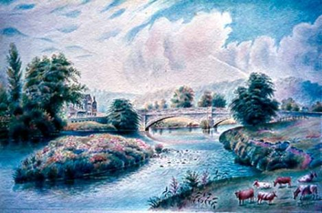 Watercolour of Apperley Bridge by local artist Fred Swaine, showing the George and Dragon public house in view, left. The pub dates back to at least 1587 and was originally built by the Atkinson family of Apperley as a private house. It was first recorded as an inn in 1835 but was probably established as such in the late 18th century, c1780. The George and Dragon retains many of its original features and is also Grade II listed. © Fred Swaine.
