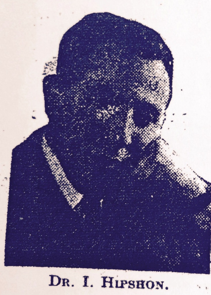 The only image of Dr. Hipshon that could be found. Taken from an article in the Jewish Chronicle - April, 1936