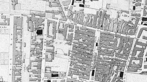 The first accurate survey of Leeds was published by Netlam and Giles in 1815. It clearly shows the different types of development at each end of the Headrow. At the West End is the newly built Park Estate surrounding Park Square, with wide streets, houses with gardens, some of them with views over the surrounding countryside. There is almost no development north of Butts Hill and Park Lane. Contrast this with the narrow streets, and crowded terraces of back-to–back houses of the east end. The town centre, on both sides of Briggate and north of the Upper Head Row and Lower Head Row was a maze of alleyways, yards and courts and working-class housing. Text and image taken from our Discovering Leeds website