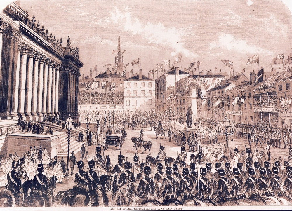 Arrival of Queen Victoria at the Town Hall, during her visit to Leeds in 1858