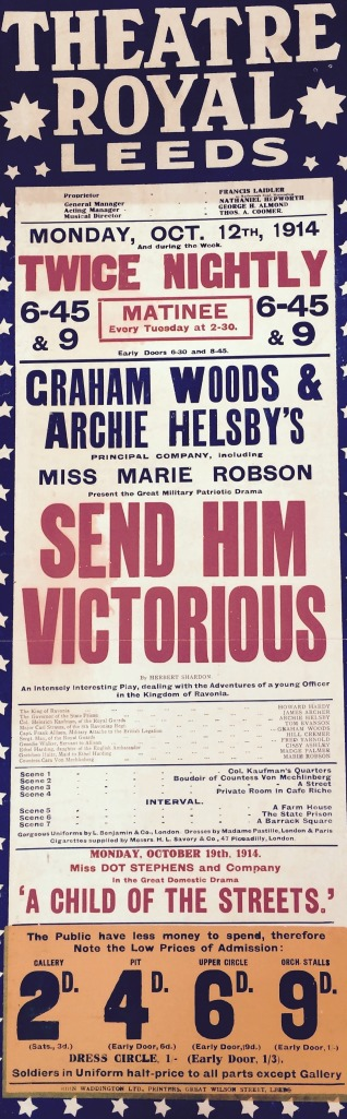 A wartime playbill from the Theatre Royal on the Headrow. Note the lower admission price for soldiers in uniform