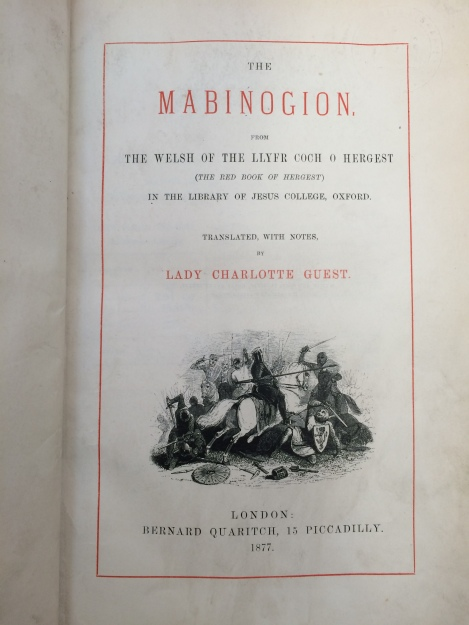 Title page of Lady Charlotte Guest's 1877 translation of the Mabinogion