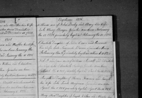 Possible baptism entry for William Darby