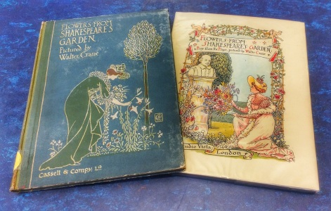 Our two copies of 'Flowers From Shakespeare's Garden'