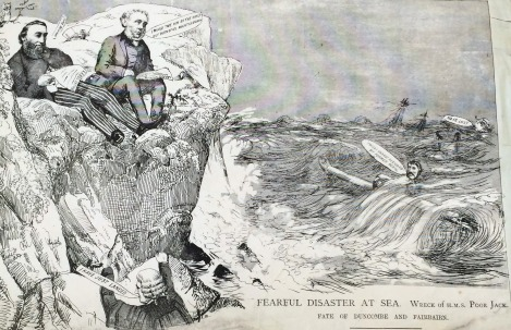 """Fearful Disaster at Sea: Wreck of H.M.S. Poor Jack; Fate of Duncombe and Fairbairn."""