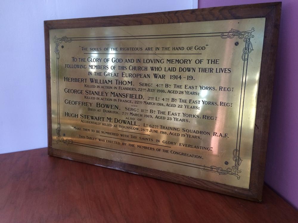Memorial in Hornsea United Reformed Church
