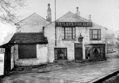 6th January 1925. View shows the Mexbro' Arms (sometimes spelt Mexborough) public house on Harrogate Road. The landlord of this Tetley's pub was at the time Sydney W. Atterton. Built in the early eighteenth century on land previously owned by the Earl of Mexborough, it was originally known as the Bowling Green Inn. It was to close later in the 1920s when a new Mexborough Arms (now called The Three Hulats) was built to the side of it.