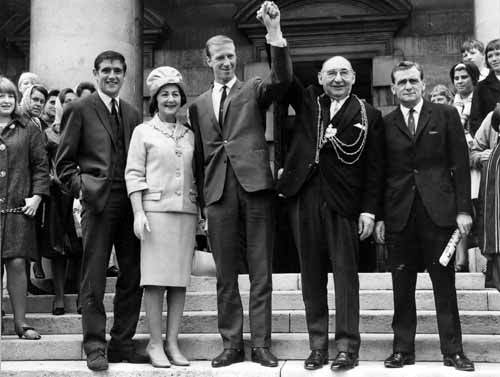 3rd August 1966. Leeds United's participants in England's triumphant World Cup winning squad are welcomed at a reception at the Civic Hall by the Lord Mayor of Leeds, Alderman Joshua S. Walsh. From the left is Norman Hunter, then the Lady Mayoress, Jack Charlton in the centre, the Lord Mayor and finally trainer Les Cocker. See the image on Leodis here