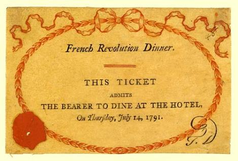 Ticket for the dinner at the Hotel celebrating the second anniversary of the storming of the Bastille on 14 July 1791 that led to the Priestley Riots. From: https://en.wikipedia.org/wiki/Royal_Hotel,_Birmingham (Public Domain)