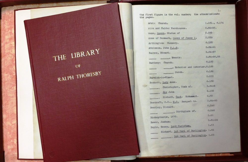 Index to the illustrations, alongside a book describing the contents of Ralph Thoresbys personal library