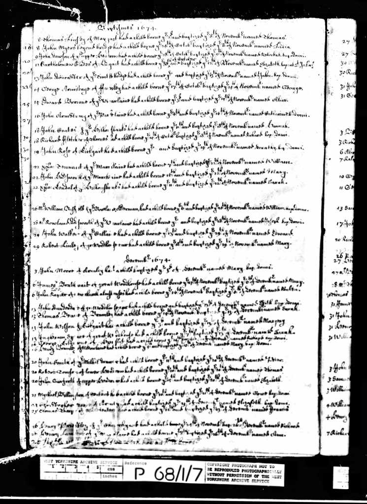 Baptism of Reuben Raper in 1674 (third entry in the December section)