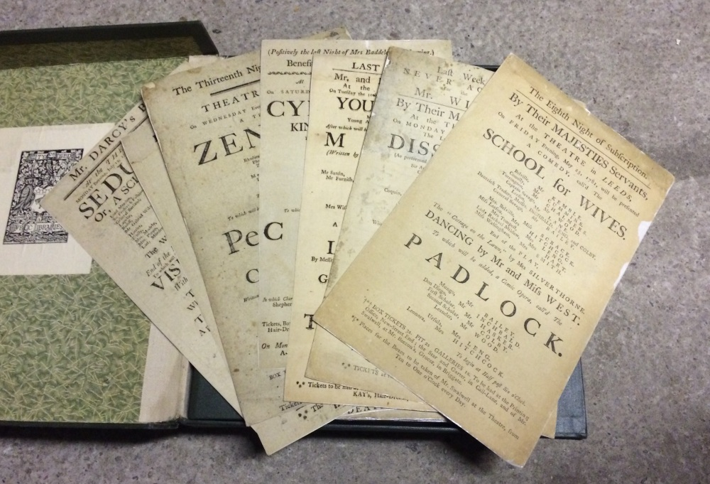 A selection from the 200+ playbills during the Wilkinson era. This includes the earliest playbill at the Central Library, from 1781