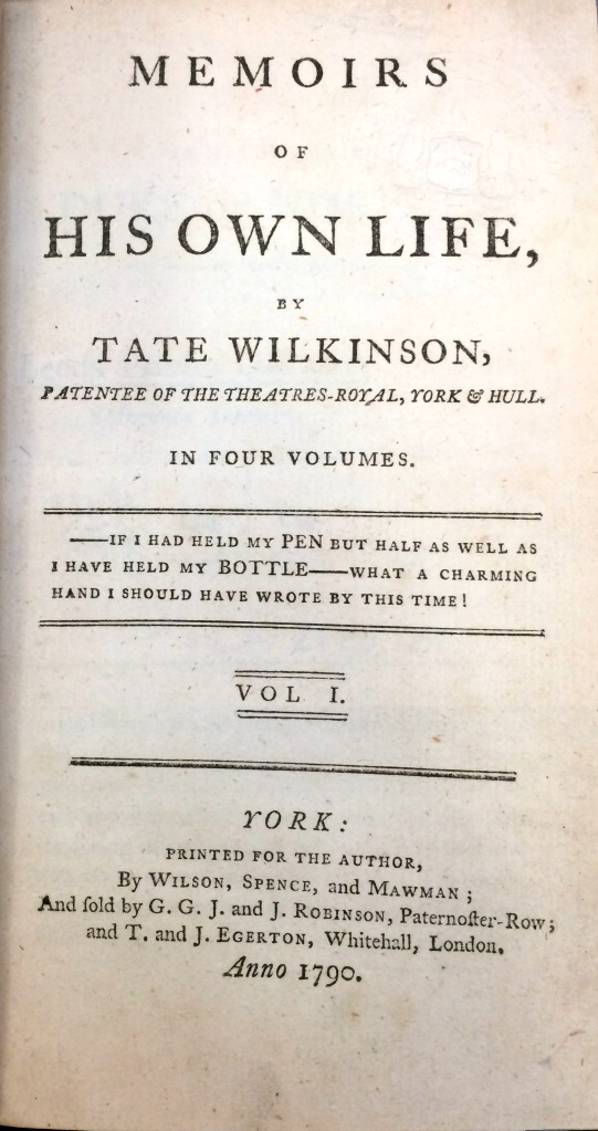 The title page of Wilkinson's Memoirs