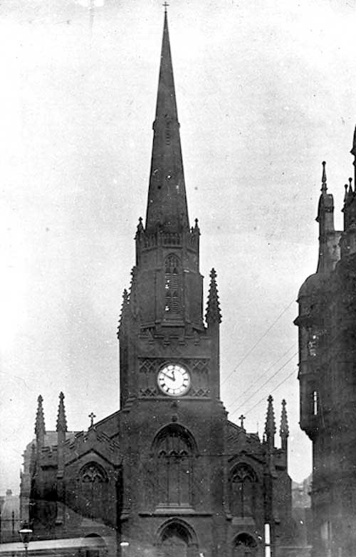 St Anne's Cathedral. Undated, Photograph taken prior to demolition in November 1904. This was done for improvements to be carried out on the Headrow which at that time was called Guildford Street. A new cathedral was constructed on Cookridge Street. From Leodis.net