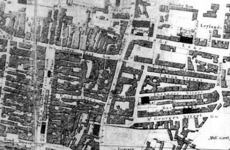 Detail from Giles' 1815 Plan of Leeds. The Chapel can be seen about half way down Lady Lane