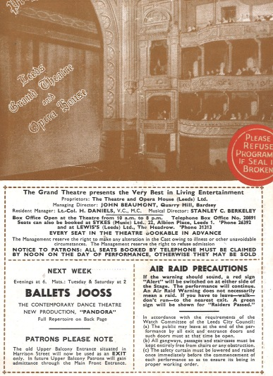 Programme for The Grand Theatre, advertising Ballets Jooss.