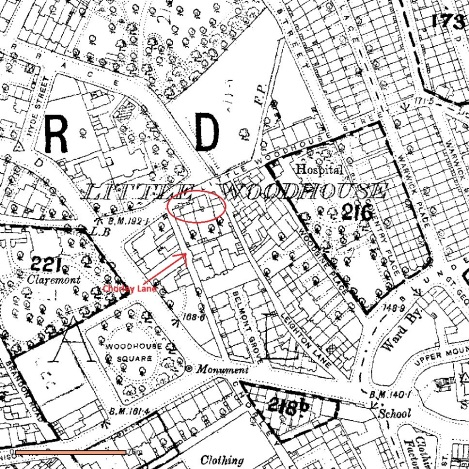 c.1890 map showing Little Woodhouse area. The location of the cottages is indicated by the circle