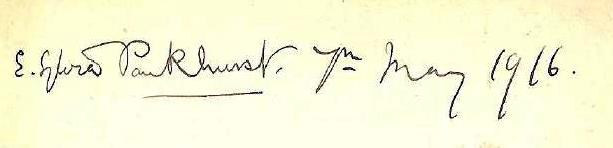 Autograph of Sylvia Pankhurst, written after she stayed at Maud Dightam's house in 1916