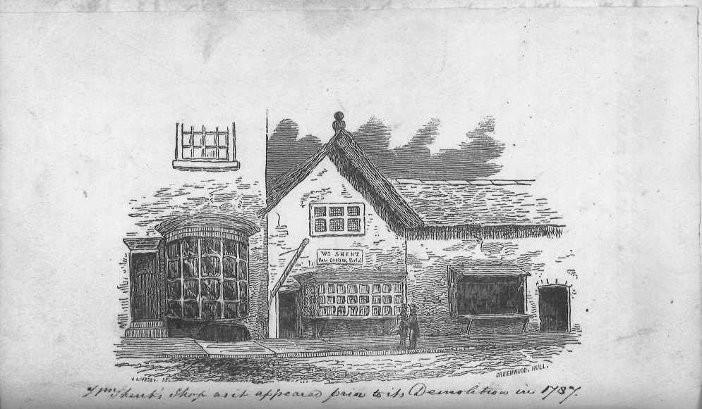 Engraving of Shent's barber shop