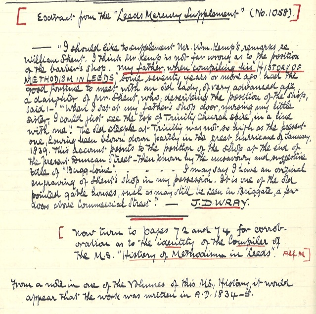 Page 9 of Mattison's notes on Methodism in Leeds