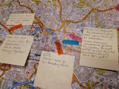 A map of Leeds is overlaid with handwritten notes about local venues