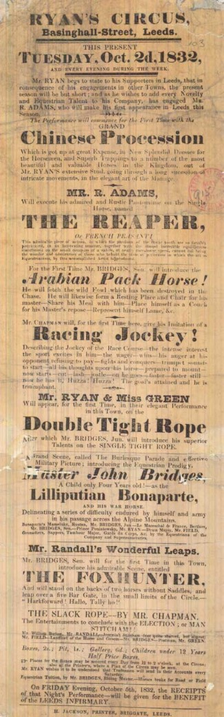 Three playbills, all showing Ryan's Royal Equestrian Circus during its performance in Basinghall Street