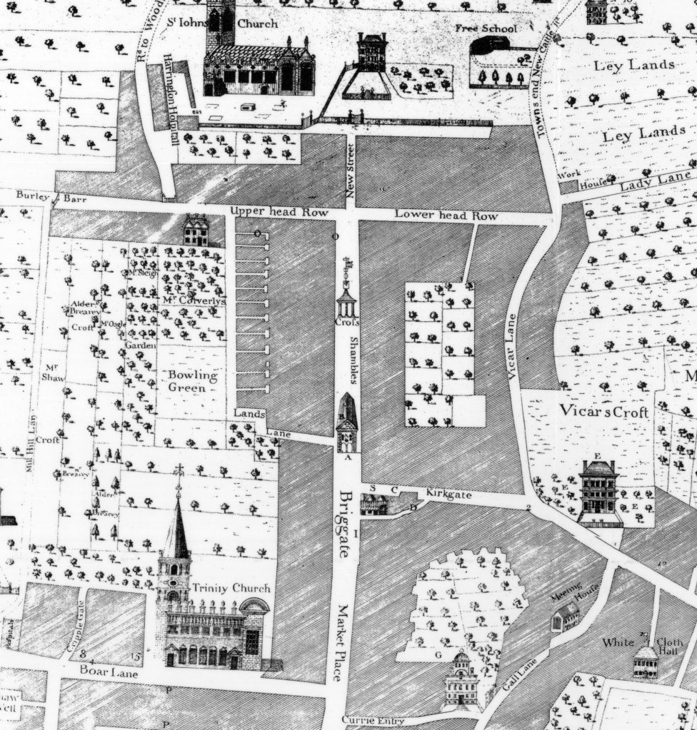 Image shows map of Leeds in the 18th-century