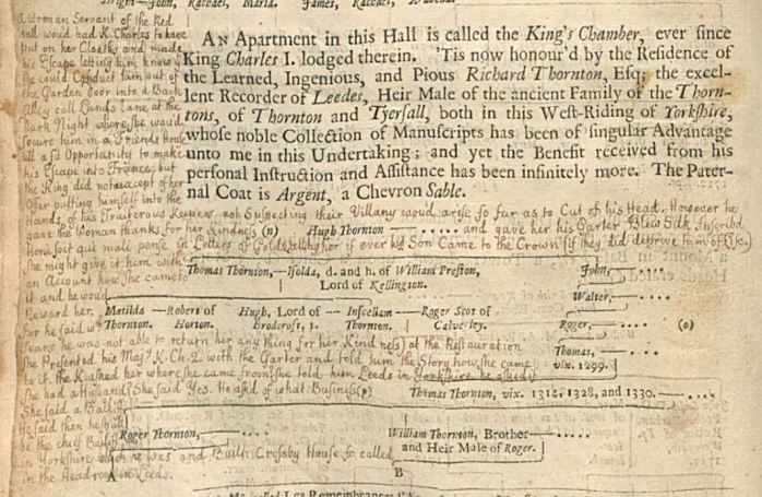 Thomas Wilson's annotation in Thoresby's Ducatus, telling the story of King Charles I during his stay in the Red Hall in Leeds
