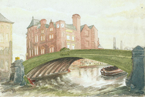 1951. View of Leeds Bridge, painted in watercolours in 1957 by local artist, Joe Tunnington.