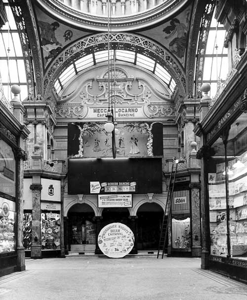 Undated, Photo possibly dating from the early 1960s, looking from Cross Arcade into County Arcade to the front of the Mecca Locarno Ballroom. From www.leodis.net, (c) Yorkshire Post Newspapers